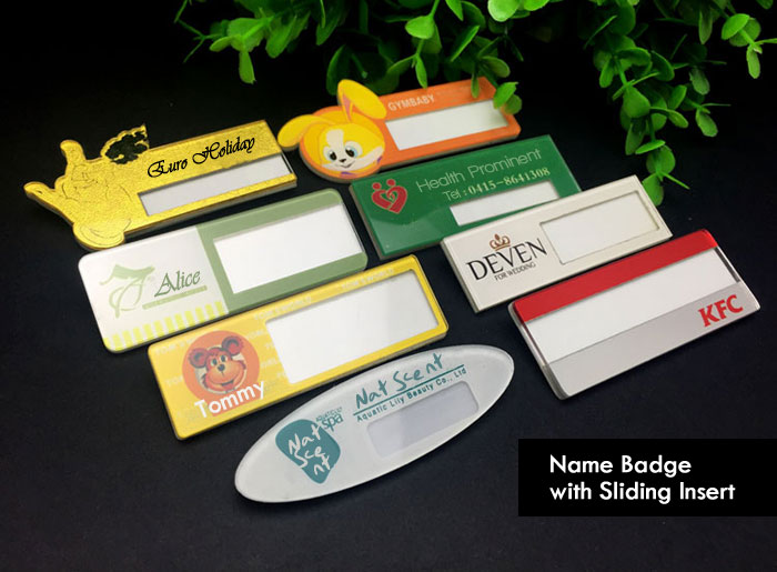 Full Color Acrylic Name Badge with Sliding Insert